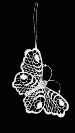 Pfauenauge aus Plauener Spitze – er gehört zu den Spitzen-Edelfaltern