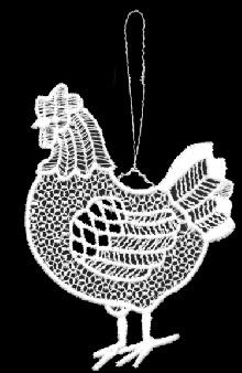Stolze Henne aus Plauener Spitze – bereit zum Eierlegen!