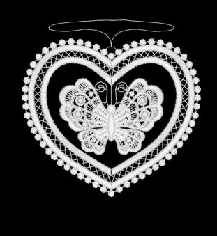 Beweglicher Schmetterling ,aus Plauener Spitze der sein Herzgehäuse liebt