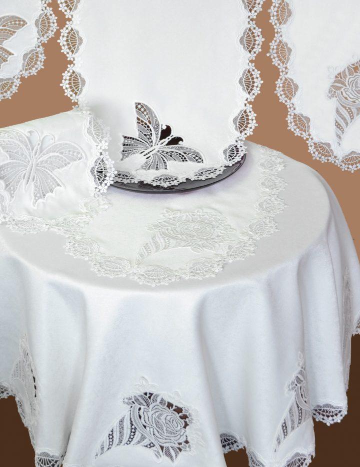 Tischdecke Plauener Spitze mit Motiv Rosentüte