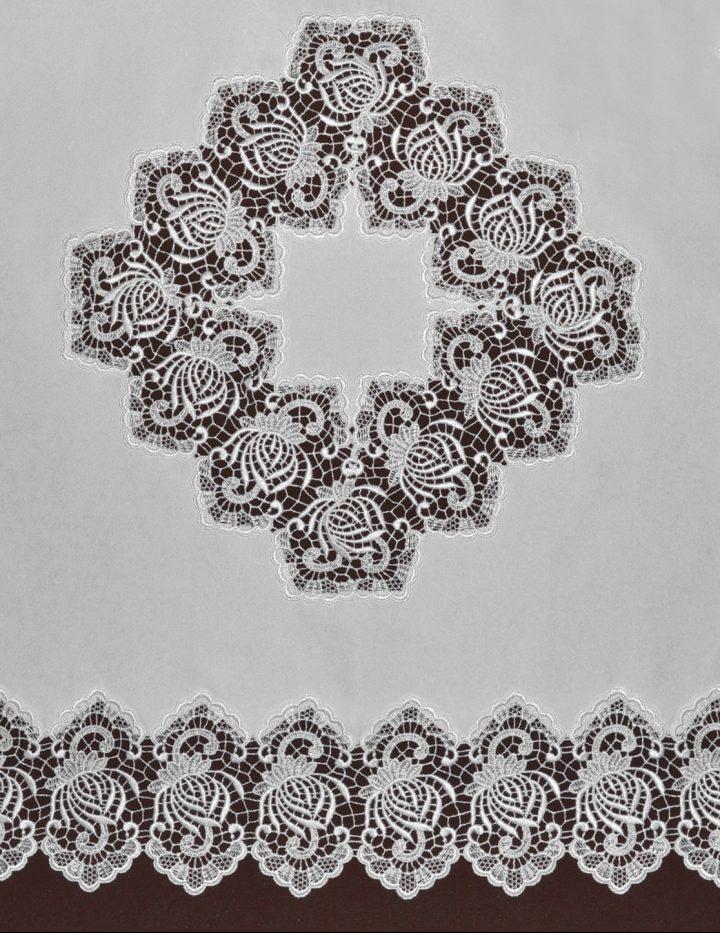 Tischecke Plauener Spitze mit Spitzeneinsatz in 90x90 cm Serie Consenza